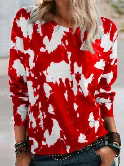 Fashion Casual Print Round neck Long sleeve T-Shirts