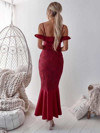 Irregular hem lace off shoulder women sexy bodycon dresses