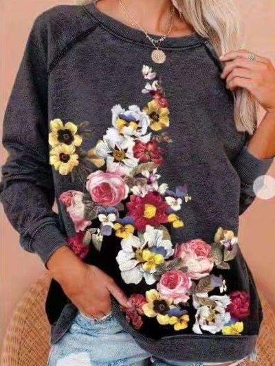 Fashion Casual Floral print Round neck Long sleeve T-Shirts