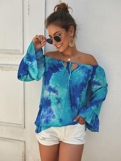 Off shoulder women printed long sleeve Blouses