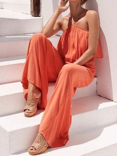 Women plain stylish chiffon long jumpsuits