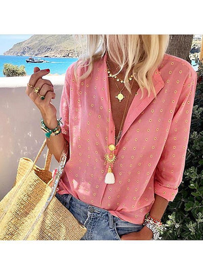Casual Printed  Long Sleeve Single-Breasted Blouses