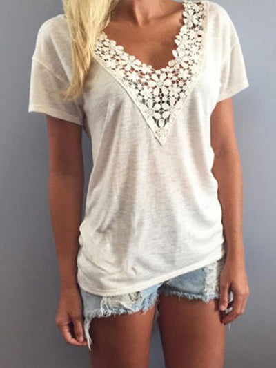 Short Sleeved Lace Decoration V neck Casual T-shirts