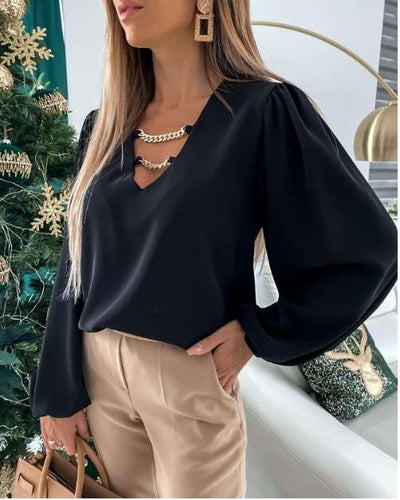 Fashion Casual Loose V neck Chain Long sleeve Blouses