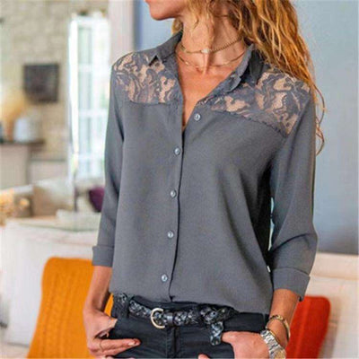 Stylish pure Lace gored Lapel Long sleeve Blouses