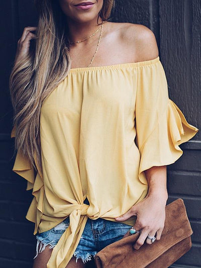 Sexy Off Shoulder Women Candy Dress Chiffon T-shirts