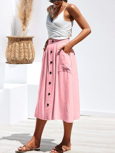 Woman Chic Cotton Long Button Skirts