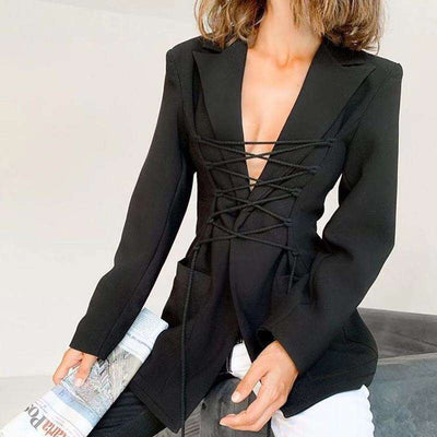 Stylish Pure Lapel Long sleeve Lacing Blazer