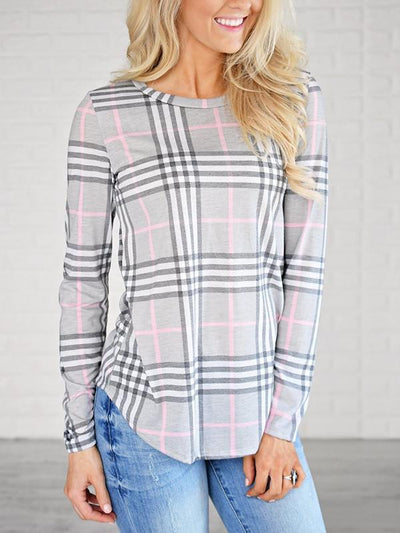 Plain Round Neck Long Sleeve Grid Casual T-Shirts