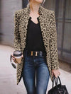 Fashion stand up collar long sleeve leopard print suit outerwear coat