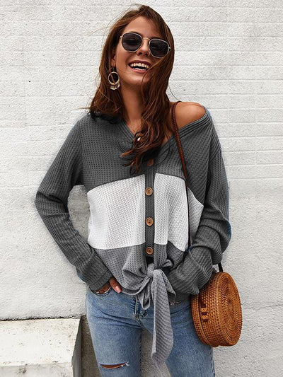 Women v neck splice chic button knit sweaters