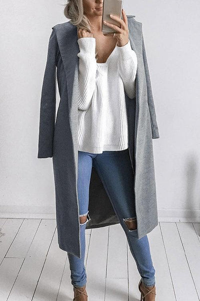Fashion Long Sleeves Causal Outerwear In Grey