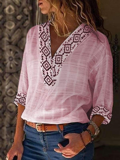 Bohemia Women V neck Long Sleeve Blouses