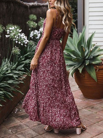 Floral Printed Strap Sleeveless V neck Women Maxi Dresses