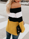 Woman Sexy Off Shoulder Color Block Long Sleeve Knitting Sweaters