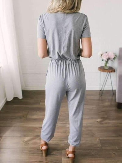 Women Plain Deep V Crossover Jumpsuits