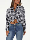 Sexy Grid Tie Turn down collar  batwing sleeve Woman Blouses