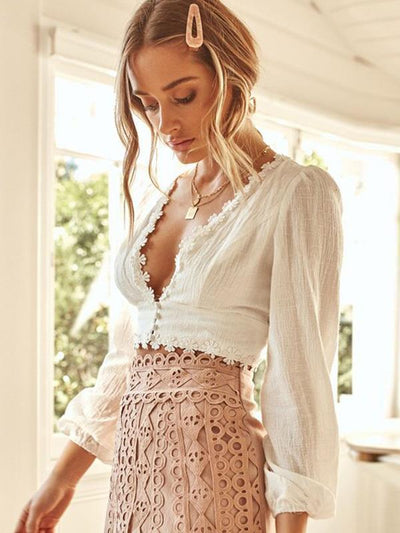Sexy Deep V Neck women long sleeve Daisy lace Blouses