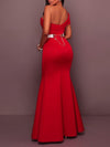 Sexy Red Women Backless One Off Shoulder Evening Dresses