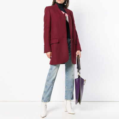 Solid Color Stand-Up Collar Pocket Woman Coat