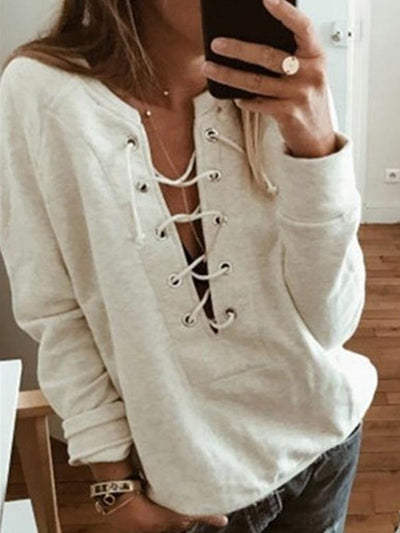 plain long-sleeve v neck tie women Sweatshirts