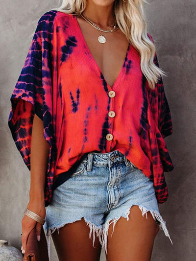 Women v neck button design colorful printed Tie dye Half Sleeve T-shirts