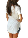V Neck Short Sleeve Plain Loose Woman T-shirts