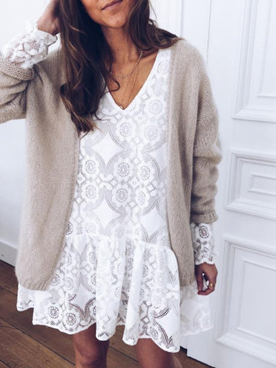 Lace V Neck Printed White Fashion Shift Dresses