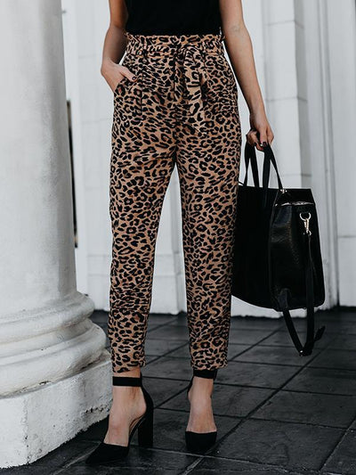 Casual Fashion Leopard printed long pants