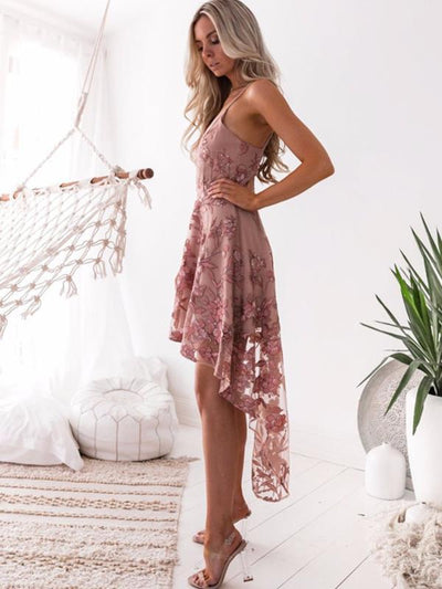 Sexy Strap Irregular Hem lace embroidered Skater dresses