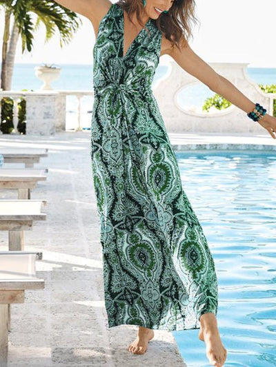 Women's sleeveless v-neck printed slim long vacation dresses