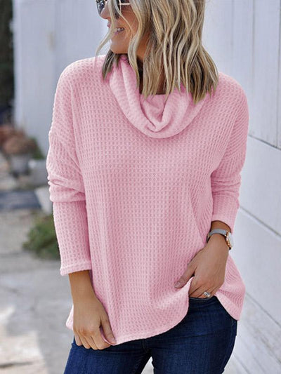 Solid Elegant Daily Woman High Collar Knit Casual Sweaters
