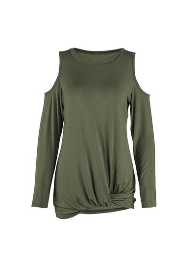 Round Neck Long Sleeve Open Shoulder T-shirts