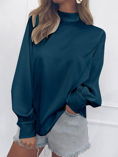 Woman High Collar Puff Sleeve Chiffon Blouses