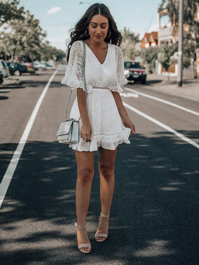 Fashion V-neck lace half sleeve mini skater dresses