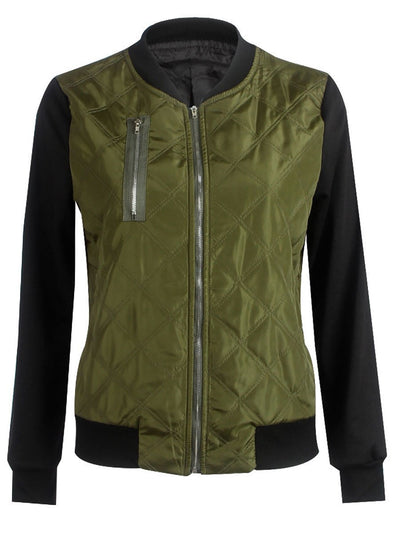 Band Collar Zips Quilted Bomber Jacket