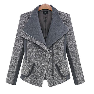 Large Lapel Loose Side Zipper Wool Coat Jacket Outwear