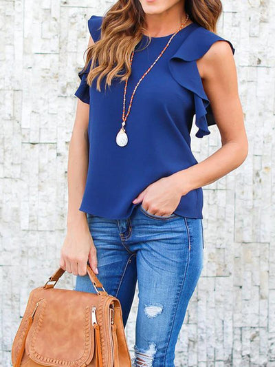 Fashionable ruffled plain colour pullover chiffon T-shirts