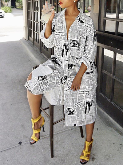 Women Turn Down Collar Newspaper printed jacket style shift dresses