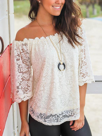 Lace off shoulder pure color blouse for woman