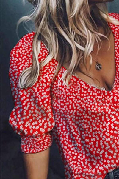 Fashion Women Deep V Neck  Printed  Summer Blouses