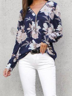 Printed Zipper Sexy V-Neck Long-Sleeved Blouses