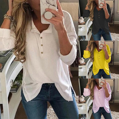 Fashion Button Long Sleeve Plain T-Shirts