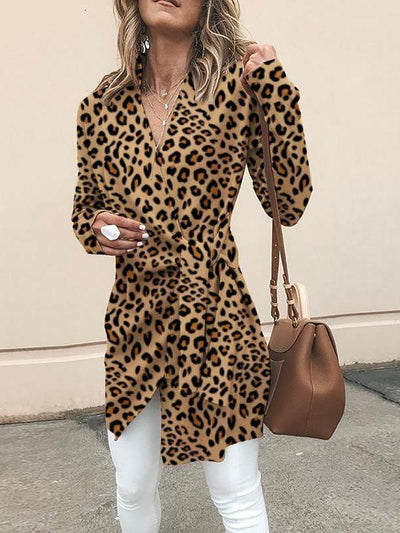 Fashionable V-Neck With Long-Sleeved Leopard Print Outerwear