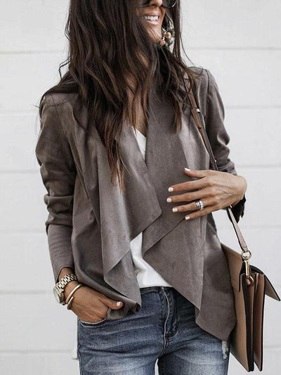 Fashion Irregular Pure Color Cardigan