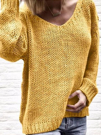 V Neck Long Sleeve Plain Knit Woman Casual Sweaters