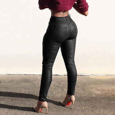 High Waist PU Fitting Leggings Pants