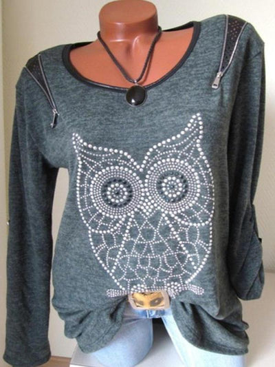 Round Neck Owl Printed Long Sleeve Zipper T-Shirts