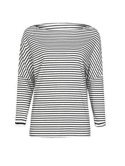 Sexy striped loose bat sleeve design Woman T-shirts