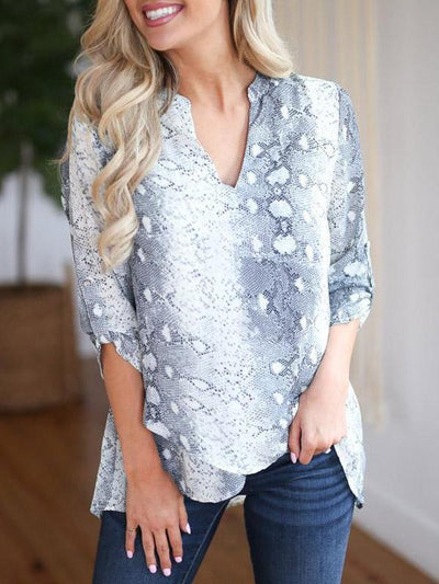 V Neck Snake Printed Asymmetrical Hem Fashion Blouses